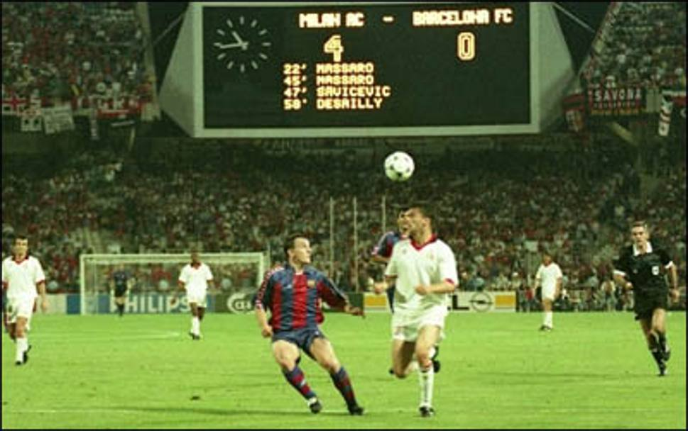 پیروزی قاطع میلان بر بارسلونا در فینال ۹۴ لیگ قهرمانان یکی از بهیادماندنیترین له کردنهای تاریخ فوتبال است.