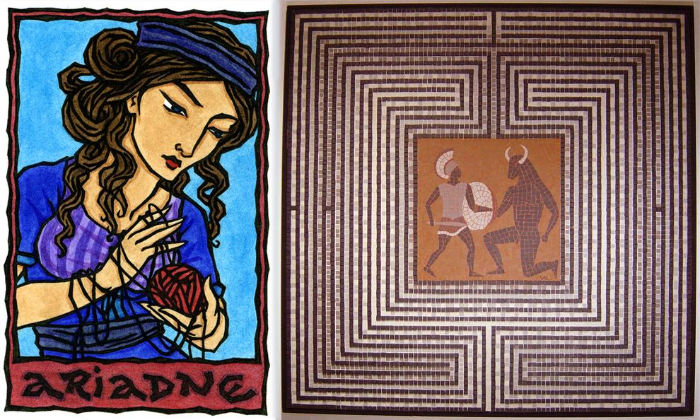 آریادنی در اساطیر یونان ، دختر مینوس پادشاه کرت است. در جزیرهی کرت، هزارتویی ساخته شده بود تا مینوتور که هیولایی با سر گاو و بدن انسان است در آن محصور شود. این هزارتو، آنقدر مارپیچ پیچیدهای بود که احتیاج به هیچ نوع دروازه یا میلهای نداشت تا مثل زندان از فرار کردن هیولا جلوگیری کنند. قهرمانی به نام تسئوس از آتن به آنجا سفر میکند تا به نبرد مینوتور برود. آریادنی به تسئوس کلافی نخ میدهد تا در سفر مخاطرهآمیزش در هزارتو آن را باز کند و بدین ترتیب بتواند بعد از مبارزه با هیولا توسط آن راه بازگشتش را پیدا کند. تصویر سمت راست، مبارزهی میان تسئوس و مینوتور را نشان میدهد.
