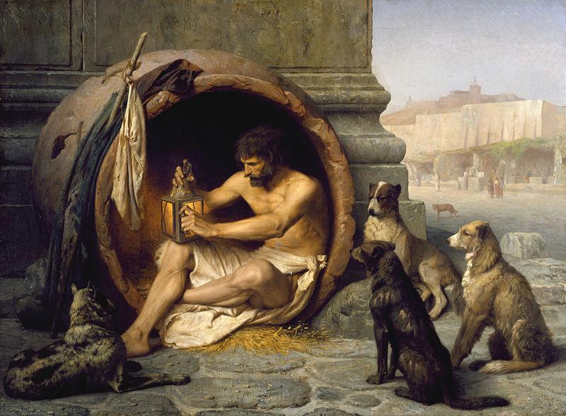 دیوجانس با بیپروایی، تمام آداب و رسوم را زیر پا نهاد و بهعمد، با کارهایی چون عدم توجه به نظافت خود، نپوشیدن لباس، پوشیدن لباسهای ژنده و کثیف، سکناگزیدن در خُم، خوردن خوراکهای مشمئزکننده و ارتکاب اعمال قبیح در ملاءعام، مردم را به حیرت میانداخت و چون مثل سگ زندگی میکرد، به او لقب کلبی دادند. اما دیوجانس و پیروانش به پرهیزگاری باور داشتند. آنها تفاوت میان ارزشهای راستین و دروغین را یگانه تمایز مهم میدانستند. از اینرو، مثلاً وقتی از او میپرسیدند میهنش کجاست، پاسخ میداد: «من شهروند جهانم». داستان مشهوری دربارهی دیوجانس میگویند که وقتی اسکندر کبیر برای دیدار او به بیغولهای رفت که در آنجا میزیست، از او پرسید: «آیا کاری هست که من، فاتح تمام جهان، بتوانم برایت انجام دهم؟» دیوجانس پاسخ داد: «بلی. میتوانی کنار بروی تا آفتاب بر من بتابد.»