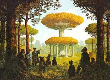 2.لگولاس گفت: «آنجا بیشههای لوتلورین قرار دارد! آنجا زیباترین منزلگاه مردم ماست. هیچ درختی مثل درختهای آن سرزمین نیست. چون در پاییز برگی از درخت نمیافتد، بلکه به رنگ طلایی تبدیل میشود. تا بهار نشود و برگ سبز جدیدی نروید، برگ نمیافتد، و آن وقت، شاخهها پر از شکوفههای زرد میشوند، و زمین بیشهای طلاییست و سقف آن طلاییست و ستونهایش نقرهایست، چون پوست درختان نرم است و خاکستری. ترانههای ما در سیاهبیشه این طور میگویند. دلم شاد میشد اگر بهار بود و زیر سقف آن بیشه میبودم!» (یاران حلقه- فصل لوتلورین)