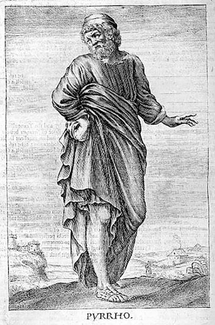 نخستین کسی که شکاکیت را غایت اندیشهی خود قرار داد و بهاصطلاح، آن را تبدیل به فلسفه کرد، پورهون (پیرون) بود. پورهون در ارتش اسکندر کبیر خدمت میکرد و در لشکرکشی با او تا هند هم رفته بود. مشاهدهی سرزمینهای بسیار او را متوجه تنوع و کثرت عقاید آدمیان کرد. به نظر میرسید برای هر باور مردم در گوشهای از جهان باور مغایری در گوشهای دیگر وجود دارد و دلیل هر دو طرف هم قوی به نظر میرسد. پس تنها کاری که به نظر پورهون میتوانیم بکنیم این است که بر اساس ظواهر امور حکم کنیم، اما چون ظواهر بهشدت فریبنده هستند، هرگز نباید یک تبیین را درست و دیگری را نادرست بدانیم. بهترین کار این است که نگرانی به خود راه ندهیم و همراه جریان برویم. به عبارت دیگر، خود را با آداب و رسوم و مقتضیات موجود وفق دهیم.
