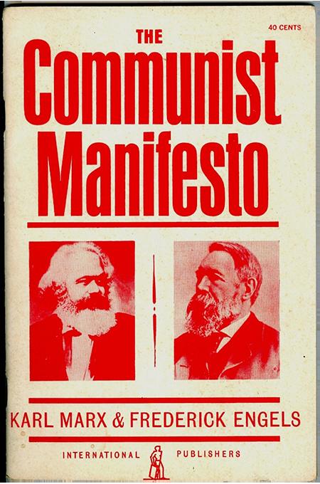 مانیفست کمونیستی: این مانیفست که در سال 1848 منتشر شد، تبدیل به مشهورترین اثر در تاریخ جنبش سوسیالیسم شد. در این نوشته مارکس و انگلس ادعا کردند که سراسر تاریخ تاکنون تاریخ مبارزهی طبقاتی بوده است. مانیفست با این فراخوان معروفش به پایان میرسد: «کارگران همهی سرزمینها متحد شوید.»