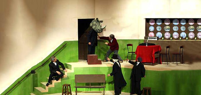 نمایشِ «کرگدنها» به نویسندگی اوژن یونسکو، یکی از مهمترین نمایشنامههای قرن بیستم به شمار میرود. داستان آن در دهکدهی کوچکی در فرانسه رخ میدهد. تمام اهالی آن دهکده کمکم تبدیل به کرگدن میشوند و تنها فردی که تسلیم این دگرگونی جمعی نمیشود، شخصیت اصلی داستان، برنژه است که از قضا پیش از این اهالی دهکده بسیار از او انتقاد میکردند. این نمایشنامه دیدگاهی انتقادی نسبت به رسم و رسومات و اخلاقیات پذیرفته شده نزد همگان دارد. مردمی که تبدیل انسانها به کرگدن را انکار میکنند خود تبدیل به کرگدن میشوند و تنها کسی که انسان باقی میماند، کسیست که این واقعیت را پذیرفته است و به خود دروغ نمیگوید. اجراهای متعدّدی از این نمایش در ایران بر صحنه رفته است. از آن میان حمید سمندریان این نمایش را با نام «کرگدن» در سال ۱۳۵۰ در تالار فردوسی دانشکده ادبیات و علوم انسانی دانشگاه تهران اجرا کرد. فرهاد آییش در ۱۳۸۷ این نمایش را در تئاتر شهر بر صحنه برد.